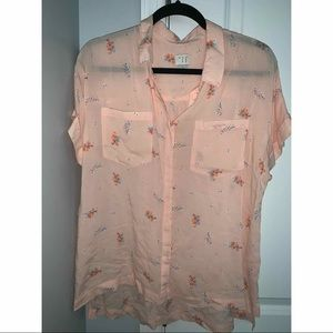 Pink Floral Short Sleeve Business Casual Blouse